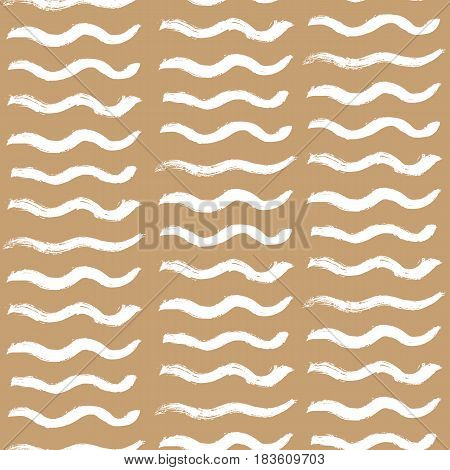 Hand drawn white wavy stripes ink brushes on brown background. Seamless pattern in scribble naive style. Vector illustration.