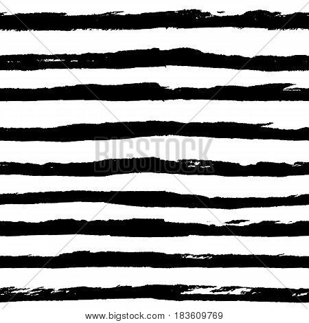 Seamless pattern with grunge black ink horizontal hand drawn stripes lines. Abstract monochrome black and white background in minimalistic naive scribble style. Vector illustration.