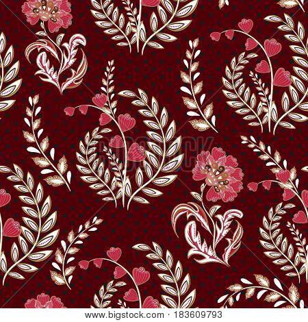 Seamless wallpaper vintage flower pattern on dot background. Vinous backdrop.
