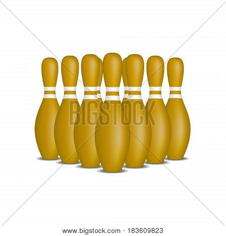 Bowling pins in brown design with white stripes standing in formation on white background