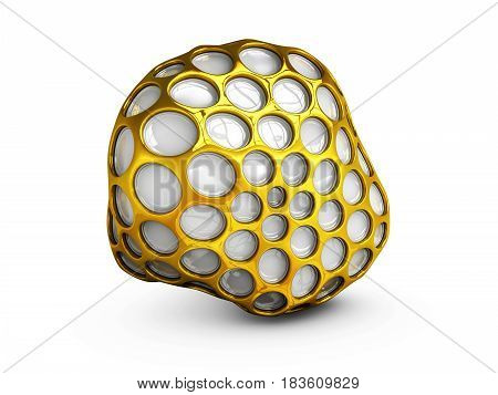 Abstract 3D Illustration Gold Wireframe Sphere. Isolated White