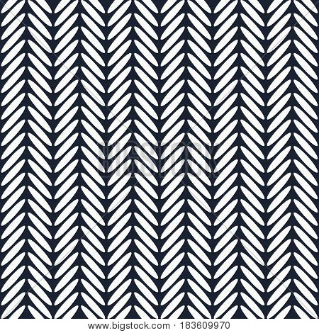 Classic herringbone dark blue and white seamless pattern. Abstract simple background in scandinavian nordic design. Vector illustration.