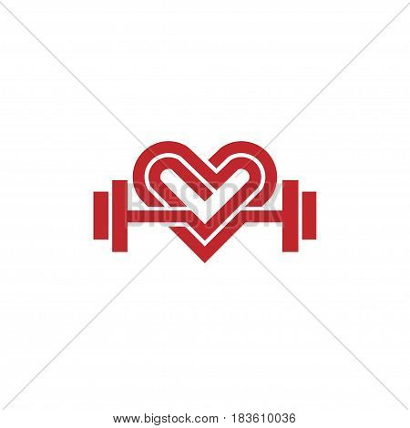 love fit logo vector, Heart sign and dumbbell logo.Fitness and heart icon vector.Healthcare sport medical and science symbol.Healthy lifestyle vector logo template