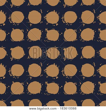 Abstract brown and dark blue seamless background. Hand drawn big polka dot pattern with splashes. Vector illustration.