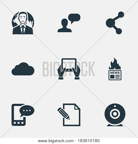 Vector Illustration Set Of Simple Newspaper Icons. Elements Overcast, E-Letter, Notepad And Other Synonyms Hot, Network And Overcast.