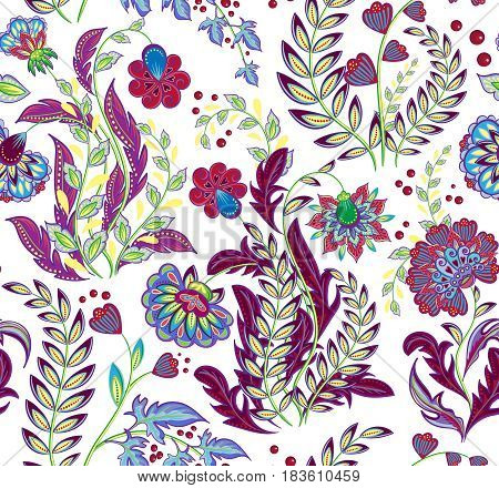 Rich seamless pattern in ethnic traditional style. The sumptuous pattern of hand draw fantasy flowers pattern. Vector
