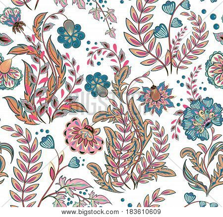Gorgeous seamless pattern in ethnic traditional style. The great pattern of hand draw fantasy flowers pattern. Vector