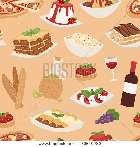 Cartoon italy food cuisine delicious ingredient homemade cooking fresh traditional lunch vector illustration. Dish plate sauce vegetarian cooked seamless pattern