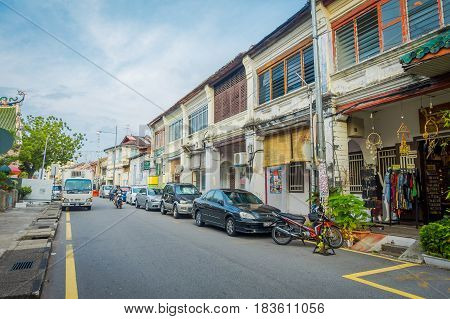 George Town, Malaysia - March 10, 2017: Streetscape view of buildings and daily life of the second largest city in Malaysia
