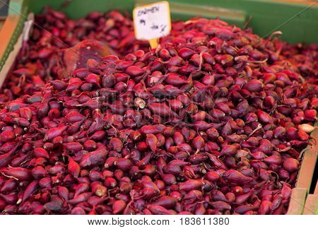 Red onion seeds on the local farmer's market