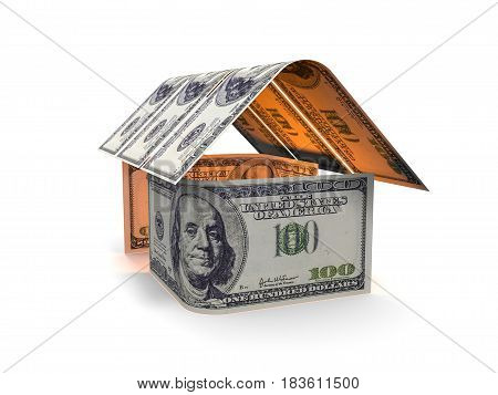 3d render, House of banknotes on a white background
