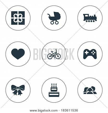 Vector Illustration Set Of Simple Holiday Icons. Elements Game, Confectionery, Box And Other Synonyms Heart, Play And Bicycle.