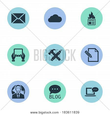Vector Illustration Set Of Simple Newspaper Icons. Elements Laptop, Gazette, Notepad And Other Synonyms Gazette, Writing And Hand.
