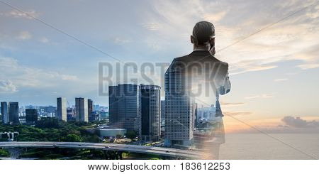 Businessman talk cell phone