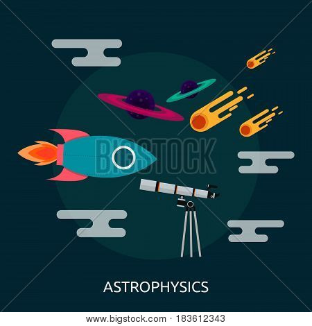Astrophysics Conceptual Design | Great flat illustration concept icon and use for science, research, technology, physics, chemistry and much more.