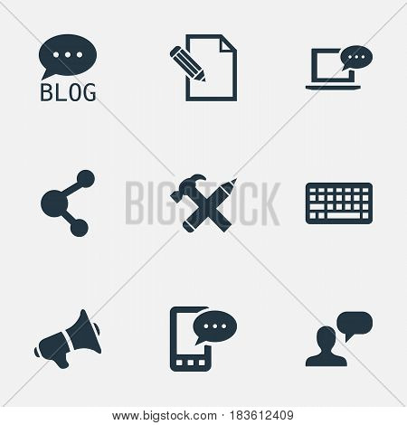 Vector Illustration Set Of Simple Blogging Icons. Elements Document, Keypad, Site And Other Synonyms Keyboard, Network And Blog.