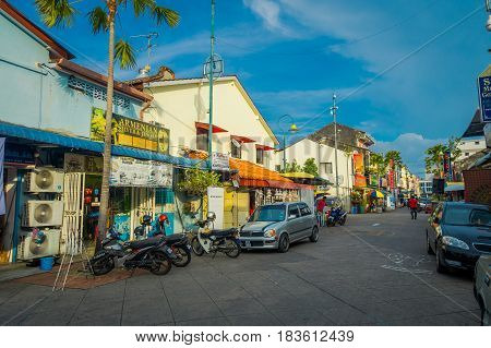 George Town, Malaysia - March 10, 2017: Little India enclave, where the oldest Hindu temple in Penang is located, Mahamariamman Temple, as well as where many indian shops and restaurants
