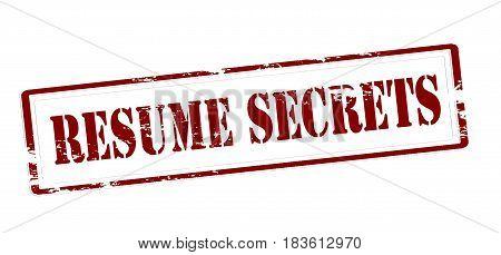 Stamp with text resume secrets inside vector illustration