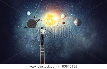 Man reaching space planets