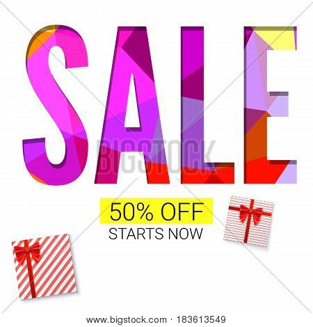 Holiday sale with gift, advertising banner on white and triangles background. Red gift boxes with ribbon. 50 percent off, starts now.