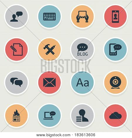 Vector Illustration Set Of Simple Blogging Icons. Elements Gossip, Laptop, Document And Other Synonyms Alphabet, Hot And Site.