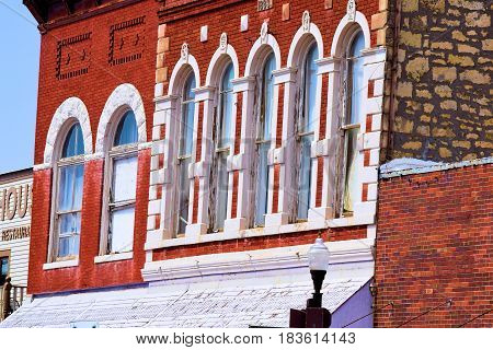 March 20, 2017 in Council Grove, KS:  Historic brick buildings taken in downtown Council Grove, KS where people can rent apartments and artist lofts