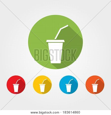Soda gas drink in plastick glass and straw vector