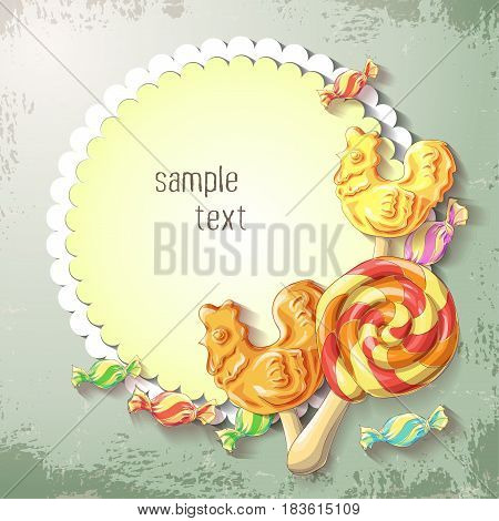 Vector Sweets of lollipop and caramel banner. Design for sweets and pastries filled with lollipop and caramel dessert menu health care products. With elements of grunge and vintage. With place for text.