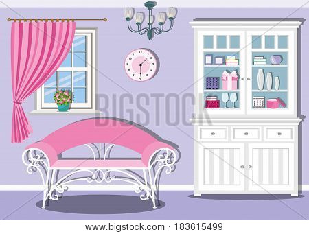 Cute stylish living room interior design. Comfortable furniture in white and pink colors. Sofa, cupboard, chandelier, clock and window with curtain. Flat style vector illustration