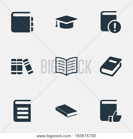 Vector Illustration Set Of Simple Knowledge Icons. Elements Journal, Important Reading, Academic Cap And Other Synonyms Important, Recommended And Academic.