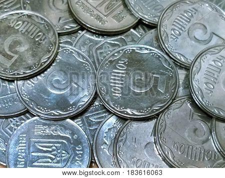 Small Ukrainian exchange money - five kopecks inexchange in bulk