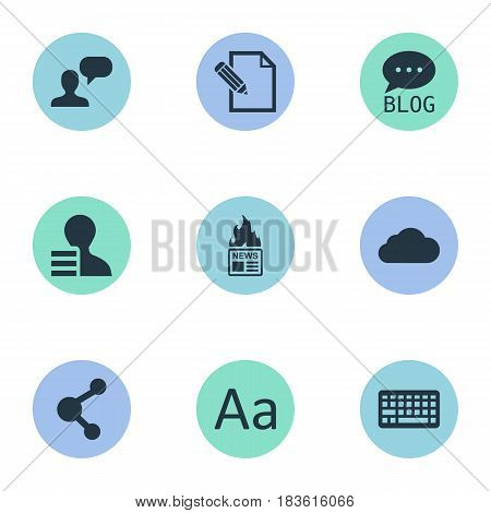 Vector Illustration Set Of Simple User Icons. Elements Overcast, Site, Man Considering And Other Synonyms Profit, Share And Contract.