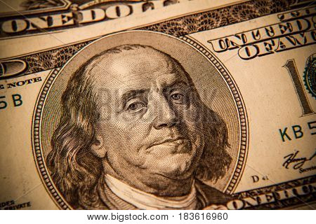 Benjamin Franklin on one hundred dollar banknote closeup