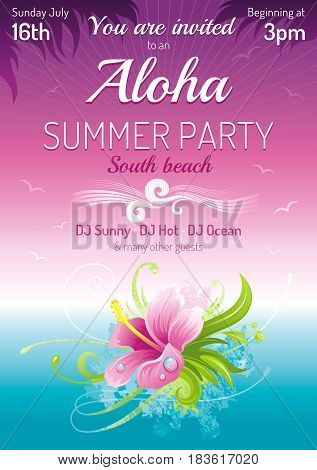 Sunset beach sea poster, hawaiian luau party. Watercolor hibiscus flower vector illustration. Aloha Hawaii design, summer holidays vacation banner. Vacation placard. Tropical island travel logo icon