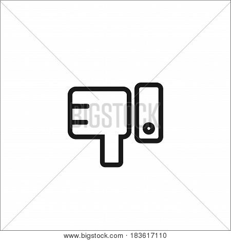 Isolated On White Background.hand With Thumb Down In Flat Design.