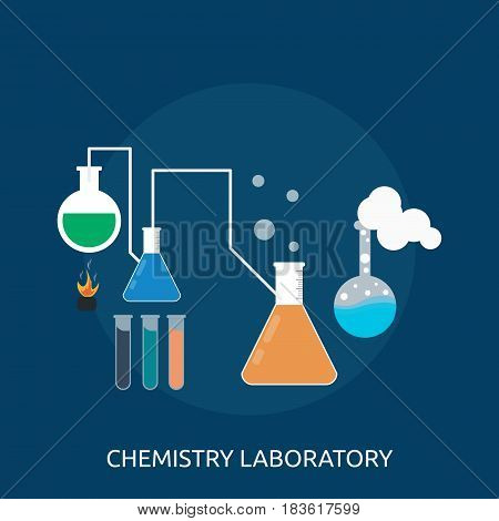 Chemistry laboratory Conceptual Design   Great flat illustration concept icon and use for science, research, technology, physics, chemistry and much more.