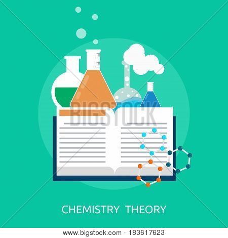 Chemistry Theory Conceptual Design | Great flat illustration concept icon and use for science, research, technology, physics, chemistry and much more.
