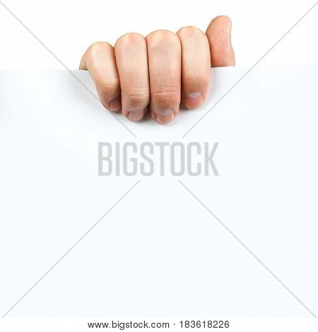Man Hand Holding Blank Advertising Card On White Background. Close Up.