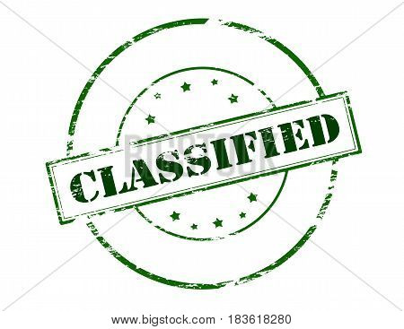 Stamp with word classified inside vector illustration