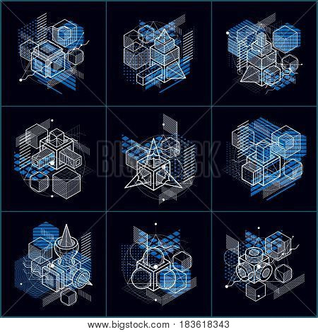 Abstract Designs With 3D Linear Mesh Shapes And Figures, Vector Isometric Backgrounds. Cubes, Hexago