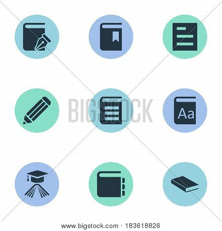 Vector Illustration Set Of Simple Books Icons. Elements Sketchbook, Graduation Hat, Tasklist And Other Synonyms Encyclopedia, Writing And Book.