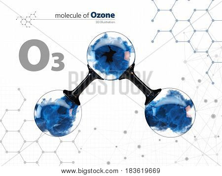 Molecule of ozone with with tehnology background. 3d Illustration