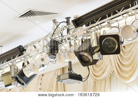 Professional lighting facilities mounted on the lighting bar