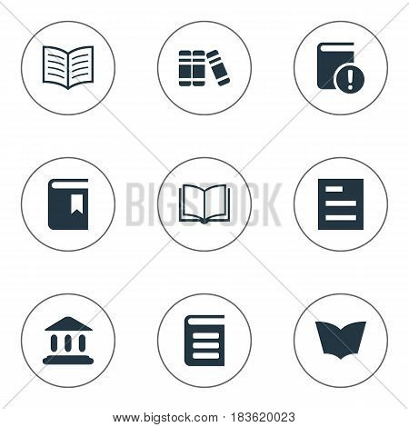 Vector Illustration Set Of Simple Books Icons. Elements Encyclopedia, Library, Book Page And Other Synonyms Textbook, Important And Bookmark.