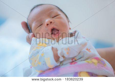 Cute, Newborn asian baby asleep, Close up