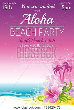 Evening beach party, sea poster, traditional Aloha hawaiian party. Beautiful grunge hibiscus flower vector illustration. Summer holidays vacation flat banner. Tropical Hawaii island travel logo icon