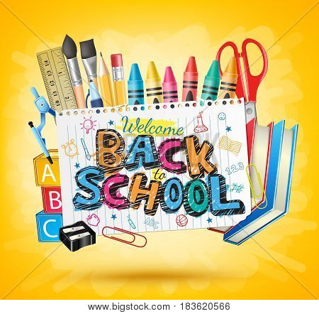 Back to School Colorful Text in White paper with School Items in Yellow Background Vector Illustration
