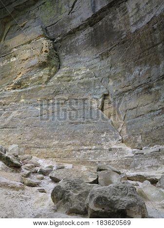 Profile pictures showing various sedimentary rock formations along with erosion at St. Louis Canyon at Starved Rock State Park