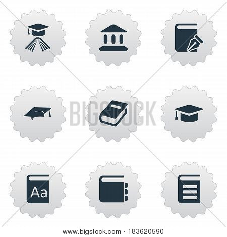Vector Illustration Set Of Simple Education Icons. Elements Library, Graduation Hat, Encyclopedia And Other Synonyms School, Building And Academy.
