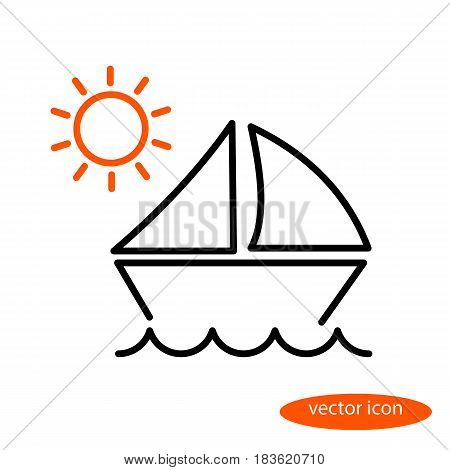 A simple vector linear illustration of a landscape with a sailing vessel floating on the waves and orange sun a flat line icon.